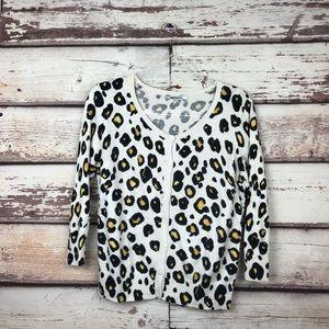 DKNYC leopard cardigan medium Womens